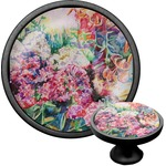 Watercolor Floral Cabinet Knob (Black)