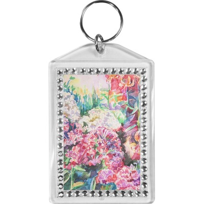 Watercolor Floral Bling Keychain