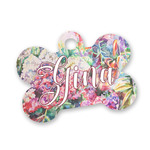 Watercolor Floral Bone Shaped Dog Tag