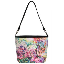 Watercolor Floral Bucket Bag w/ Genuine Leather Trim