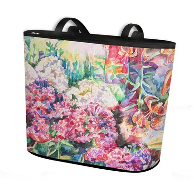 Watercolor Floral Bucket Tote w/ Genuine Leather Trim