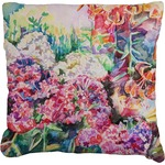 Watercolor Floral Faux-Linen Throw Pillow