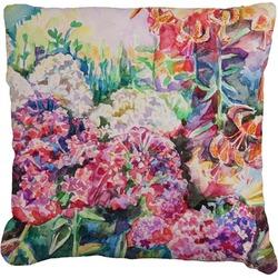 Watercolor Floral Faux-Linen Throw Pillow