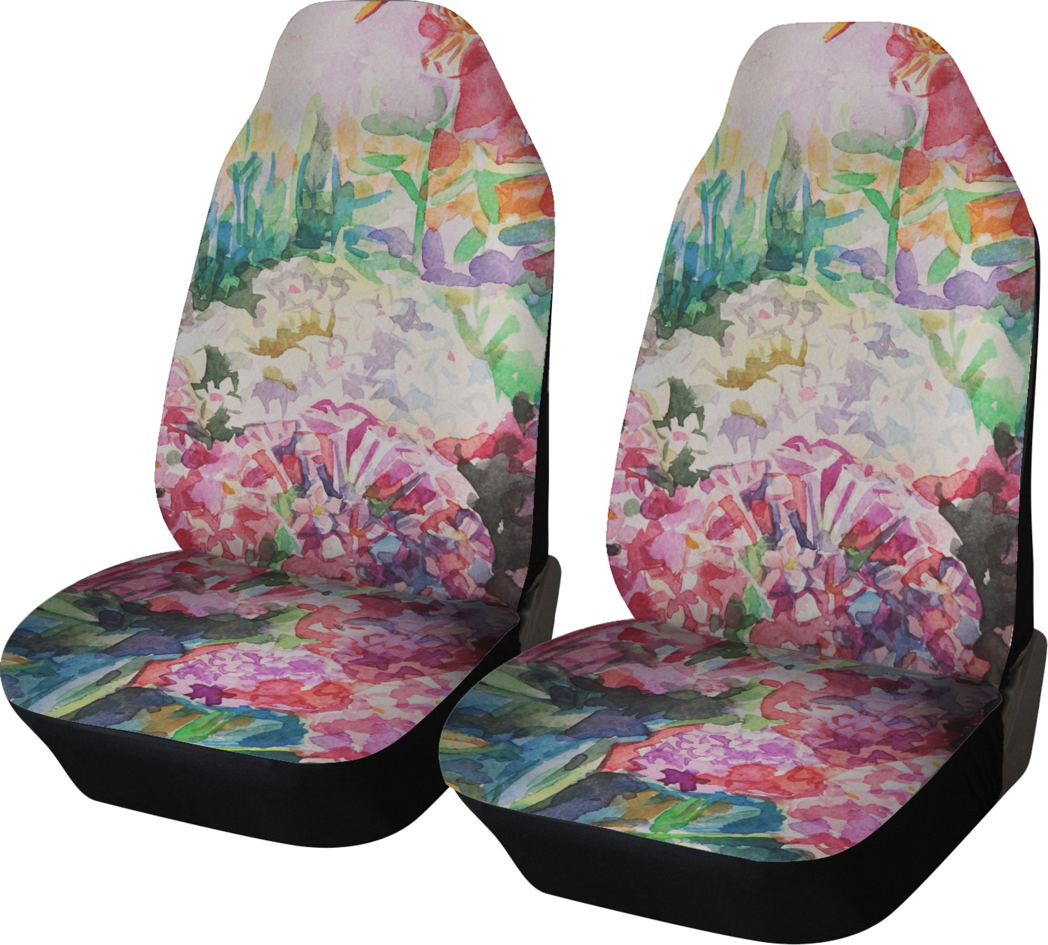 Watercolor Floral Car Seat Covers Set Of Two