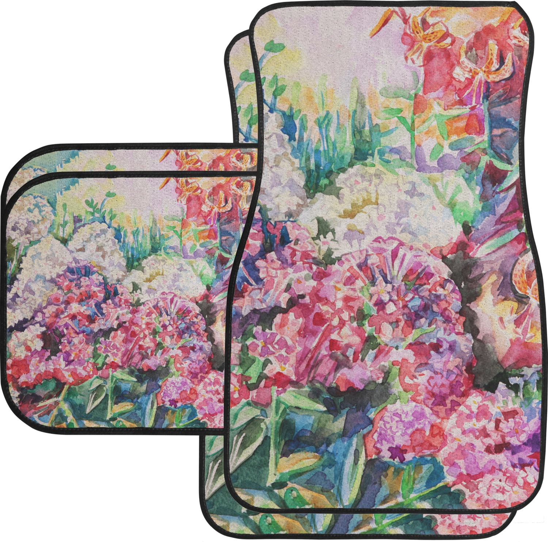 Watercolor Floral Car Floor Mats Set 2 Front Amp 2 Back