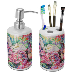 Watercolor Floral Bathroom Accessories Set (Ceramic)