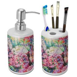 Watercolor Floral Ceramic Bathroom Accessories Set