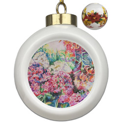 Watercolor Floral Ceramic Ball Ornaments - Poinsettia Garland