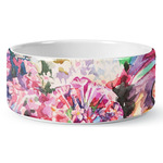 Watercolor Floral Ceramic Dog Bowl