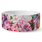 Watercolor Floral Ceramic Dog Bowl