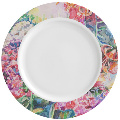 Watercolor Floral Ceramic Dinner Plates (Set of 4)