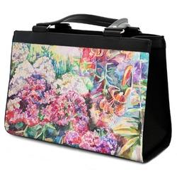 Watercolor Floral Classic Tote Purse w/ Leather Trim
