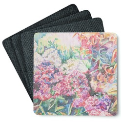 Watercolor Floral Square Rubber Backed Coasters - Set of 4