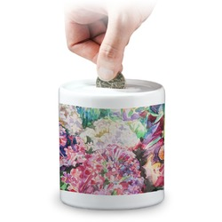 Watercolor Floral Coin Bank