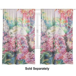"Watercolor Floral Curtains - 20""x54"" Panels - Lined (2 Panels Per Set)"