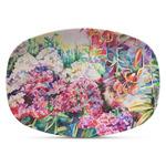 Watercolor Floral Plastic Platter - Microwave & Oven Safe Composite Polymer
