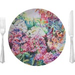 "Watercolor Floral Glass Lunch / Dinner Plates 10"" - Single or Set"