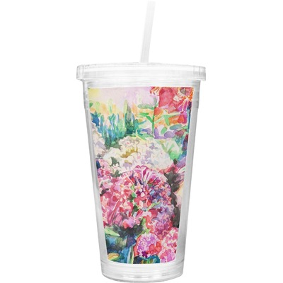 Watercolor Floral Double Wall Tumbler with Straw
