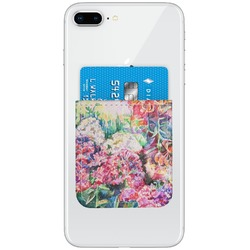 Watercolor Floral Genuine Leather Adhesive Phone Wallet