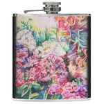 Watercolor Floral Genuine Leather Flask