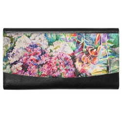 Watercolor Floral Genuine Leather Ladies Wallet