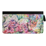 Watercolor Floral Genuine Leather Ladies Zippered Wallet