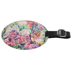 Watercolor Floral Genuine Leather Oval Luggage Tag