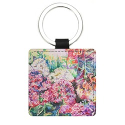 Watercolor Floral Genuine Leather Rectangular Keychain