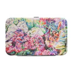 Watercolor Floral Genuine Leather Small Framed Wallet