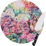 Watercolor Floral Round Glass Cutting Board