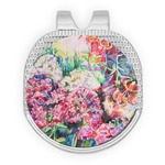 Watercolor Floral Golf Ball Marker - Hat Clip - Silver
