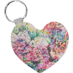 Watercolor Floral Heart Keychain