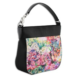 Watercolor Floral Hobo Purse w/ Genuine Leather Trim