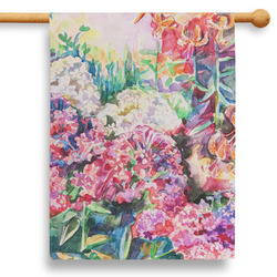 """Watercolor Floral 28"""" House Flag"""