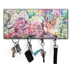 Watercolor Floral Key Hanger w/ 4 Hooks