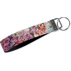 Watercolor Floral Wristlet Webbing Keychain Fob