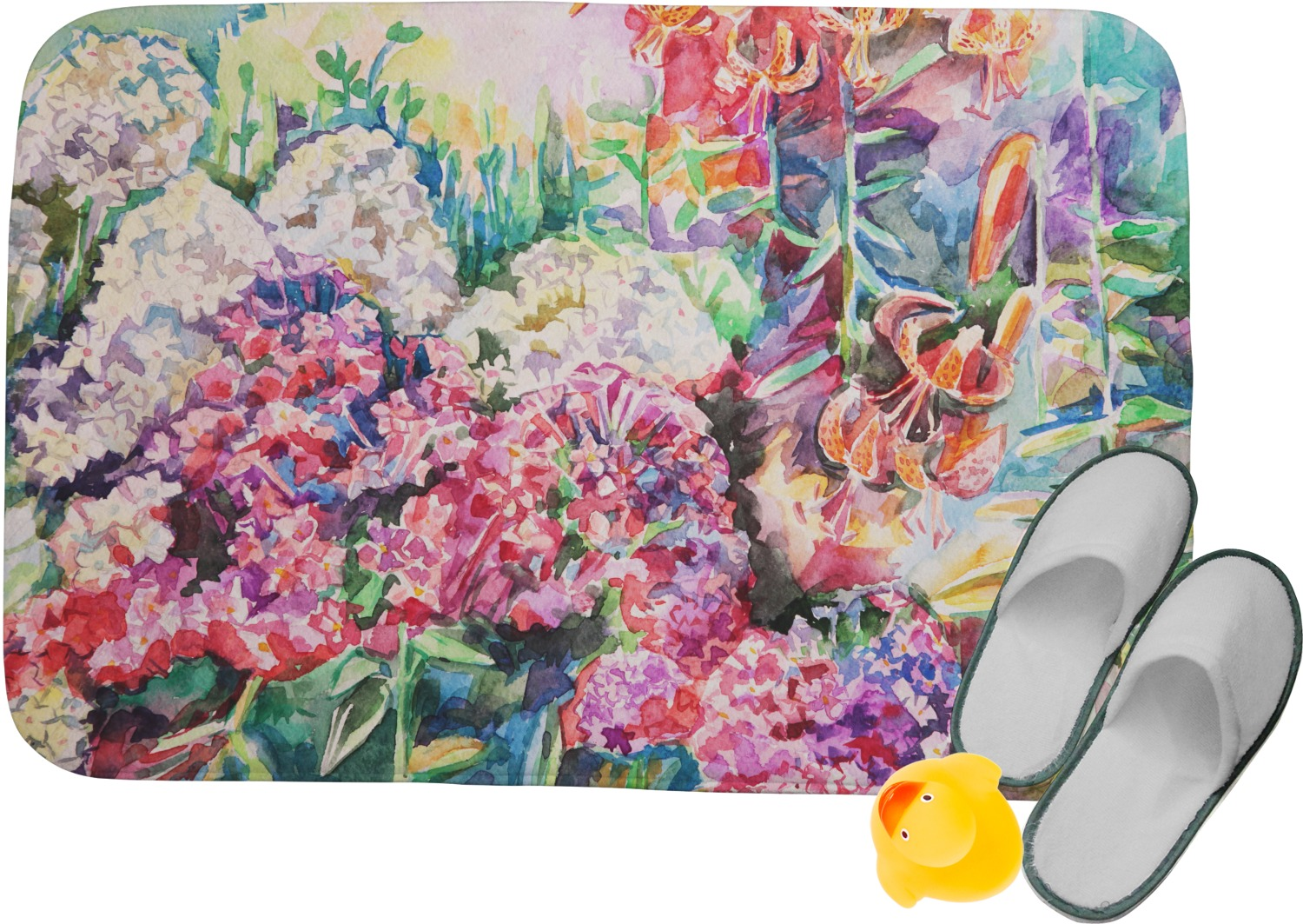Watercolor Floral Memory Foam Bath Mat Youcustomizeit