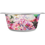 Watercolor Floral Stainless Steel Dog Bowl
