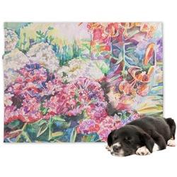 Watercolor Floral Minky Dog Blanket - Large