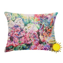 Watercolor Floral Outdoor Throw Pillow (Rectangular)