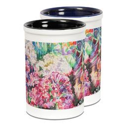 Watercolor Floral Ceramic Pencil Holder - Large