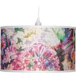 Watercolor Floral Drum Pendant Lamp