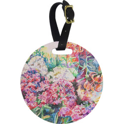 Watercolor Floral Round Luggage Tag