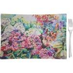 Watercolor Floral Glass Rectangular Appetizer / Dessert Plate - Single or Set