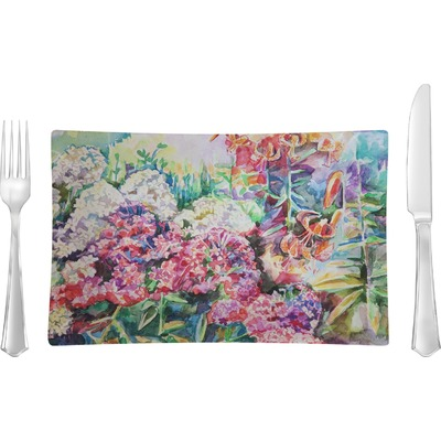 Watercolor Floral Rectangular Glass Lunch / Dinner Plate - Single or Set