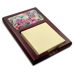 Watercolor Floral Red Mahogany Sticky Note Holder