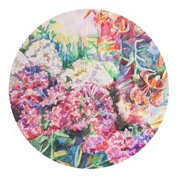 Watercolor Floral Round Decal - Medium