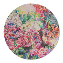 Watercolor Floral Round Linen Placemat