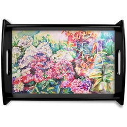Watercolor Floral Black Wooden Tray