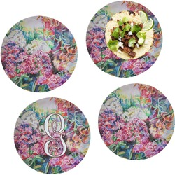"""Watercolor Floral Set of 4 Glass Lunch / Dinner Plate 10"""""""